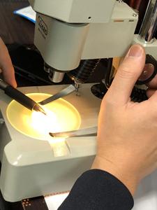 顕微鏡検品中